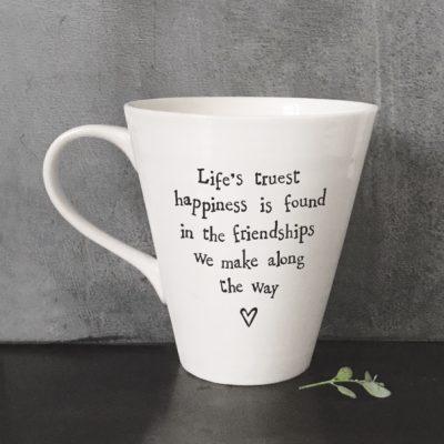 east of india, mug, love, friend, lifes truest happiness, true friend