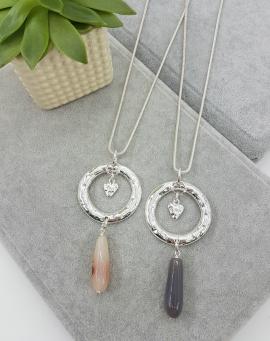 Long, pendant, hammered, circle, grey, droplet, silver, heart