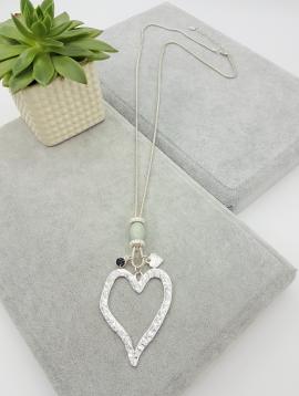 Long, pendant, open, heart