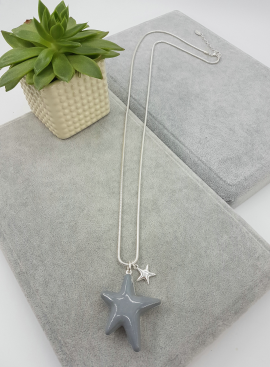 Long, pendant, reversible, grey, stars