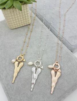 long, pendant, silver, heart, pearl