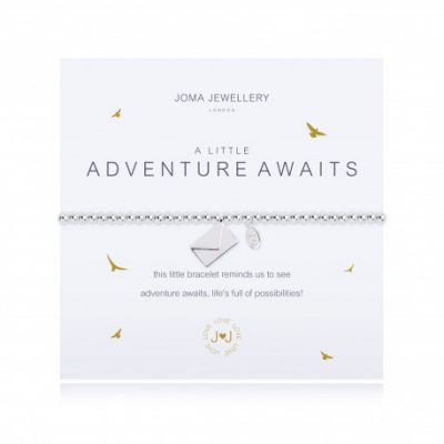 Little, adventure, awaits, charm, bracelet, envelope, silver, plated, joma