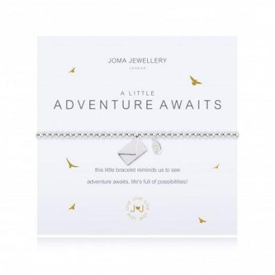 Little, adventure, awaits, charm, bracelet, envelope, silver, plated, joma