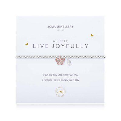 little, live, joyfully, butterfly, charm, bracelet, joma, silver, plated