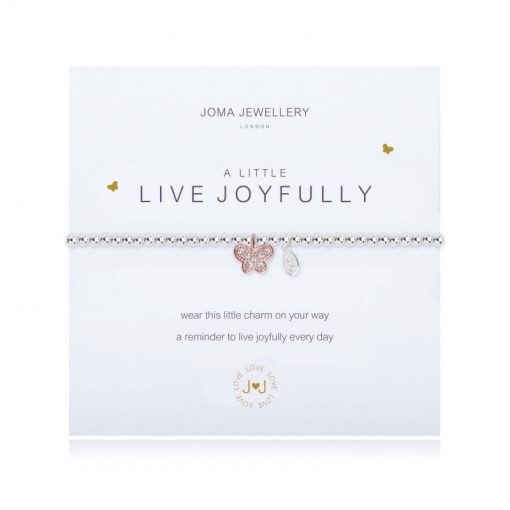 little, live, joyfully, butterfly, charm, bracelet, joma, silver, plated