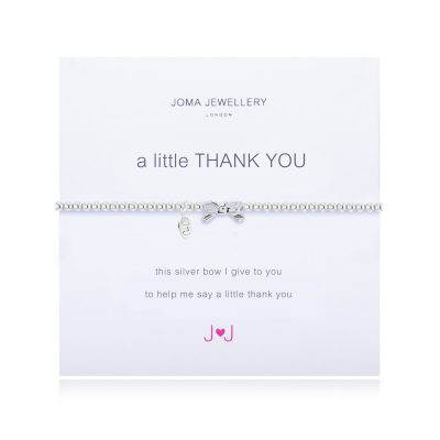 Little, Thank, You, Bow, Joma, silver, plated, Bracelet