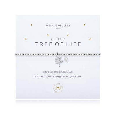 little, tree, life charm, bracelet, joma, silver, plated