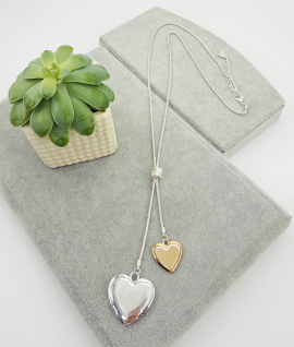 Long, pendant, gold, silver, full, hearts