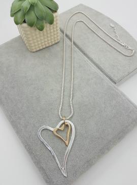 Long, pendant, silver, gold, open, hearts