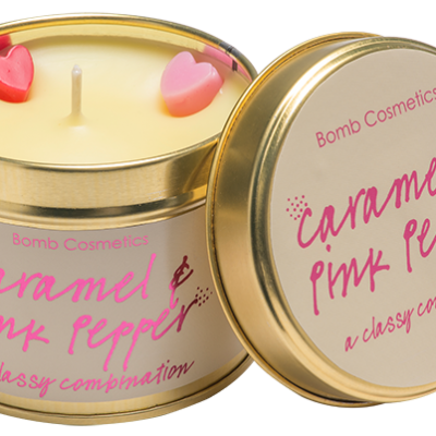 caramel, pink, pepper, tinned, candle, bomb, cosmetics