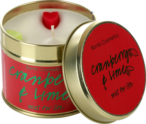 cranberry, lime, tinned, candle, bomb, cosmetics