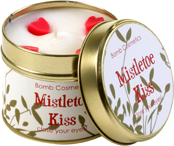 mistletoe, kiss, tinned, candle