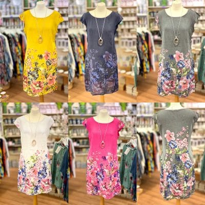 Floral linen pocket dresses