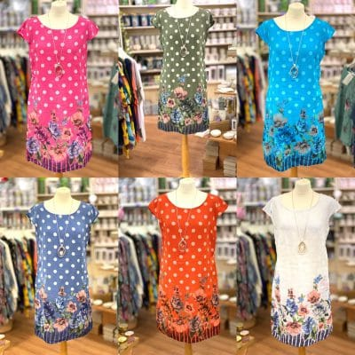 Polka dot floral linen pocket dresses