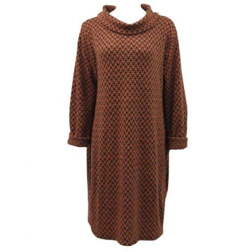 Burnt orange zig zag cowl neck light knit tunic dress