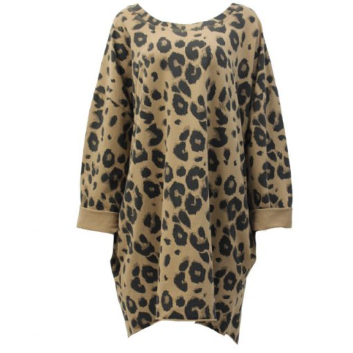 Caramel, animal print, cotton, tunic, top, oversized