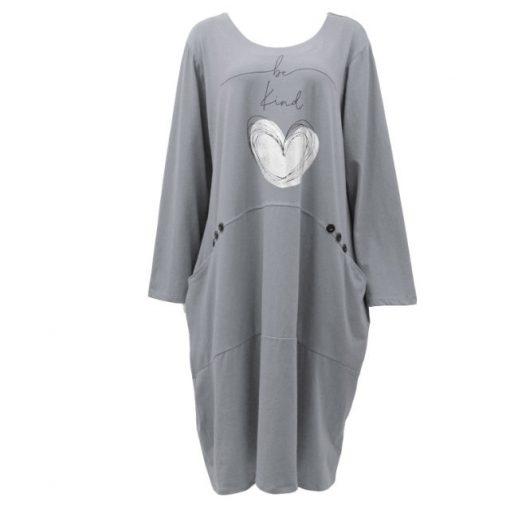 Grey , be kind, heart, pocket, dress