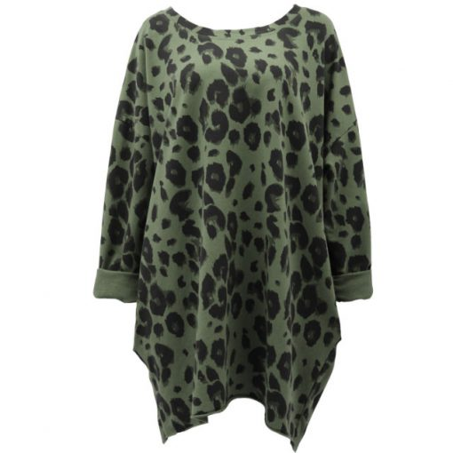 Khaki , animal print, cotton, tunic, top, oversized