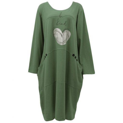 Khaki , be kind, heart, pocket, dress
