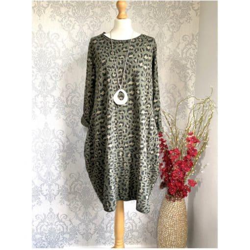 khaki, leopard print, pocket dress