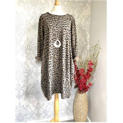 mocha, leopard print, pocket dress