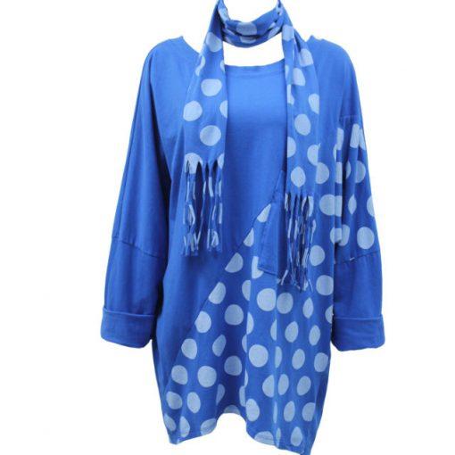 royal blue, polka dot, tunic, top, scarf