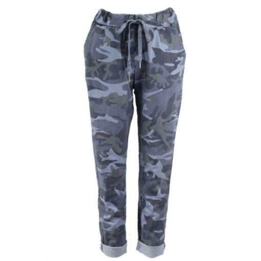 denim blue, stretchy, magic trousers, camouflage, joggers