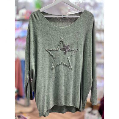 Khaki, super soft, jumper, star, sparkle