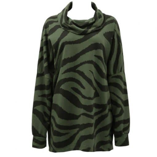 Khaki , cotton, zebra print, top
