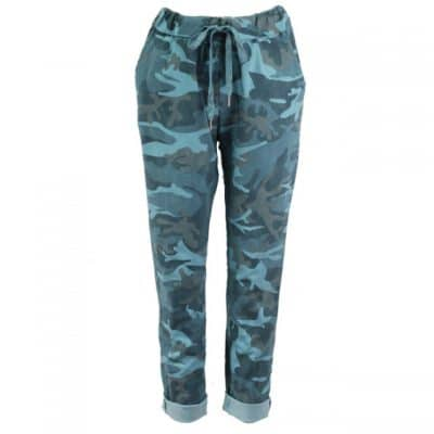 Petrol blue , stretchy, magic trousers, camouflage, joggers