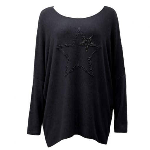 black, super soft, jumper, star, sparkle
