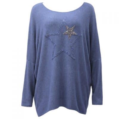 Denim blue, jumper, sparkle, star, super soft