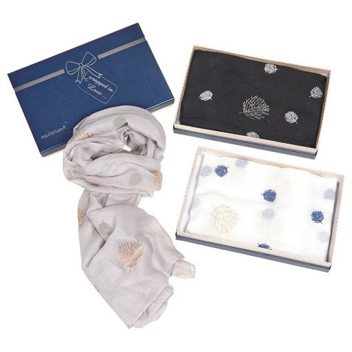 glittery, leaves, boxed, scarf, gift