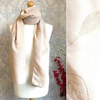 beige, sparkly, leaf, scarf