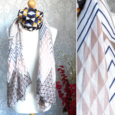 black and beige, triangles, scarf