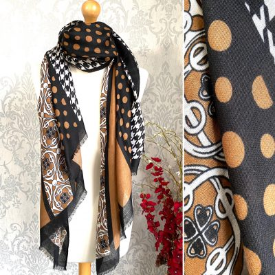 black, brown, dotty, patterned, scarf
