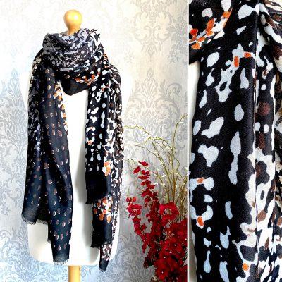 Black, brown, mottled, scarf