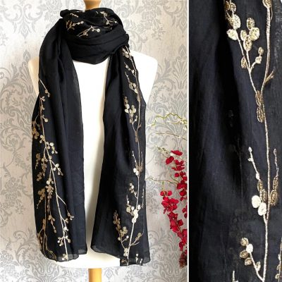 black, embroidered, gold, scarf