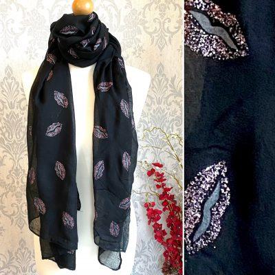 black, lips, scarf