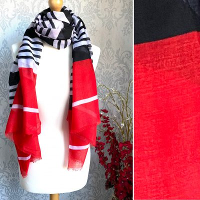 Black, white, red, striped, scarf