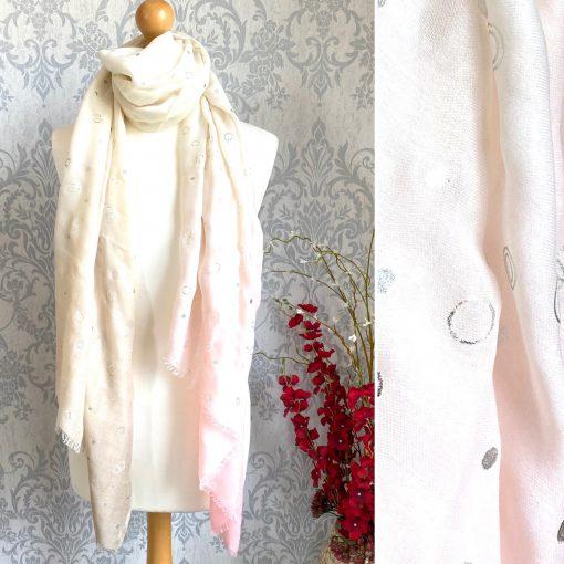 cream, beige, pink, scarf