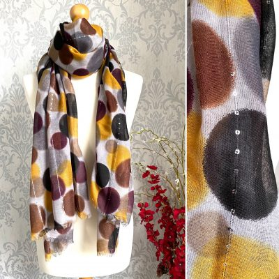 Earthy toned, circles, sequin thread, scarf