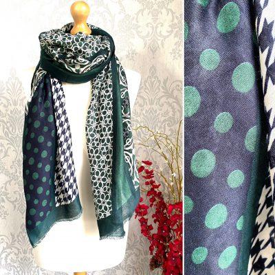 green, navy, dotty, patterned, scarf