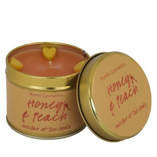 honey, peach, candle