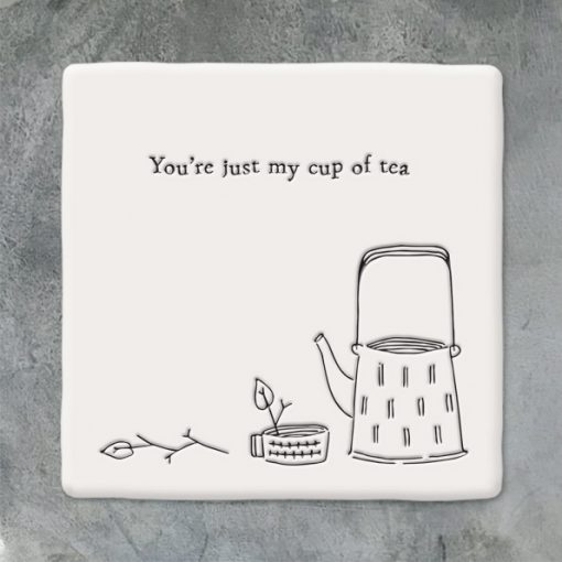 East of India, ceramic, porcelain, coaster, cup of tea