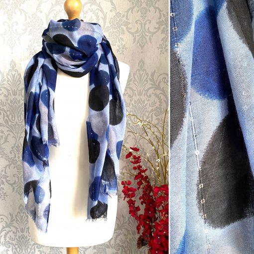 Blue, circles, sequin thread, scarf