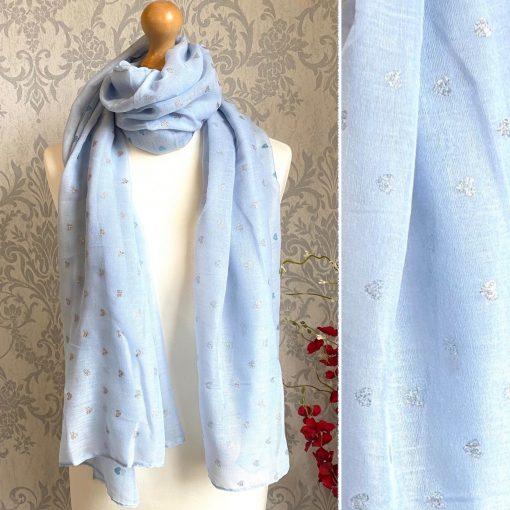 light blue, hearts, scarf