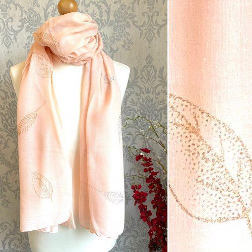 pink, scarf, leaves