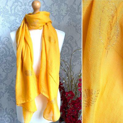 mustard, leaf, sparkly, scarf