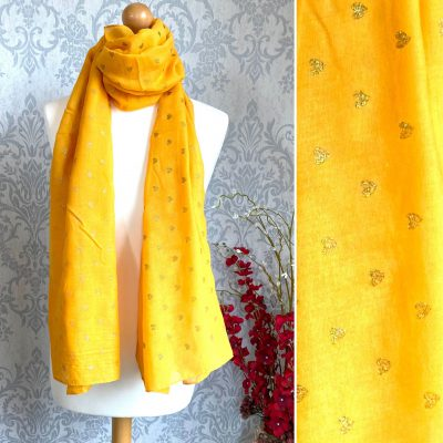 mustard, hearts, scarf